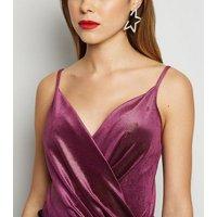 Purple Velvet Glitter Wrap Bodysuit New Look