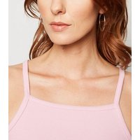 Pink Ribbed Square Neck Cami New Look