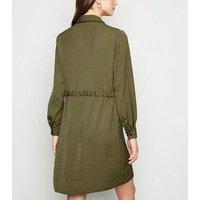 Light Green Drawstring Waist Shirt Dress New Look