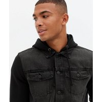 Black Jersey Sleeve Hooded Denim Jacket New Look