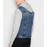 Pale Blue Jersey Sleeve Hooded Denim Jacket New Look