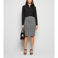 Black Check Pencil Skirt New Look