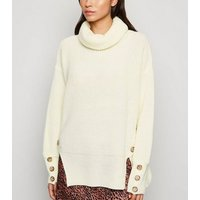 Cameo Rose Cream Button Roll Neck Jumper New Look