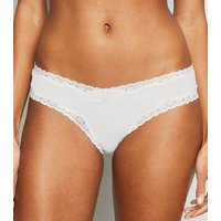Cream V Front Lace Trim Brazilian Briefs New Look