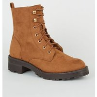 Tan Suedette Lace Up Chunky Boots New Look Vegan
