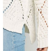 Cameo Rose Cream Chenille Pointelle Knit Jumper New Look