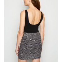 Cameo Rose Silver Sequin Mini Skirt New Look