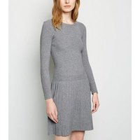 Cameo Rose Grey Pleated Knit Dress New Look