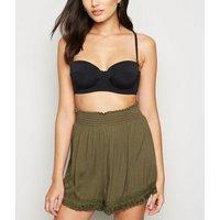 Khaki Shirred Tassel Trim Beach Shorts New Look