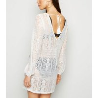 Off White Lace Crochet Beach Kaftan New Look