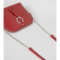 Red Faux Croc Kettle Bag New Look Vegan