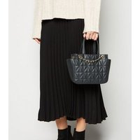 Black Quilted Woven Chain Shoulder Bag New Look Vegan