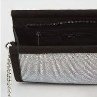 Black Suedette Diamanté Shoulder Bag New Look