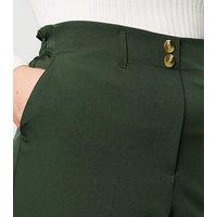 Curves Khaki High Waist Trousers New Look
