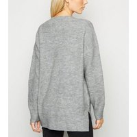 Pale Grey V Neck Long Jumper New Look