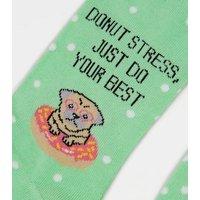 Light Green Donut Stress Slogan Socks New Look