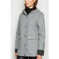 Grey Coated Spot Lined Mac New Look