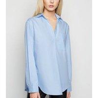Pale Blue Poplin Collared Overhead Shirt New Look