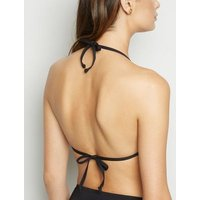 Black Moulded Triangle Bikini Top New Look