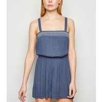 Blue Stitch Embroidered Shirred Playsuit New Look