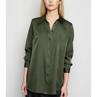 Khaki Satin Longline Long Sleeve Shirt New Look