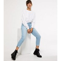 Pale Blue Waist Enhance Tori Mom Jeans New Look