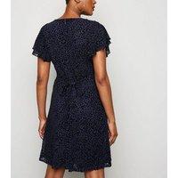 Blue Vanilla Navy Leopard Velvet Mesh Dress New Look