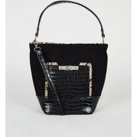Black Faux Croc Trim Bucket Bag New Look Vegan