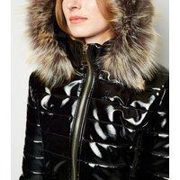 Cameo Rose Black Patent Faux Fur Trim Puffer Jacket New Look