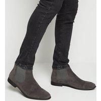 Men's Dark Grey Suedette Chelsea Boots New Look Vegan