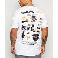 White Sushi Open 24 Hours Slogan T-Shirt New Look