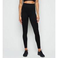 Black Textured Seamless Sports Leggings New Look