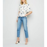 Off White Ditsy Floral Peplum Blouse New Look