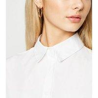 White Long Sleeve Dip Hem Poplin Shirt New Look
