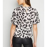 White Satin Leopard Print Tie Side Blouse New Look
