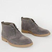 Pale Grey Suedette Lace Up Desert Boots New Look Vegan