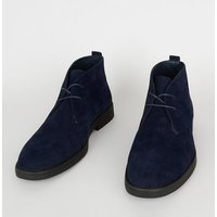 Navy Suedette Lace Up Desert Boots New Look Vegan