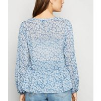 Blue Floral Frill Chiffon Blouse New Look