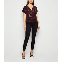 Burgundy Sequin Embellished Wrap Top New Look