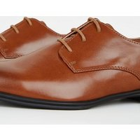 Light Brown Leather-Look Side Seam Formal Shoes New Look