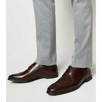Men's Dark Brown Leather-Look Side Seam Formal Shoes New Look
