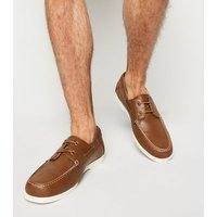 Dark Brown Leather-Look Boat Shoes New Look