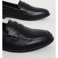 Black Leather-Look Penny Loafers New Look Vegan