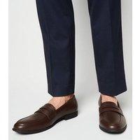 Men's Dark Brown Leather-Look Penny Loafers New Look Vegan