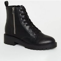 Black Leather-Look Side Zip Chunky Boots New Look Vegan