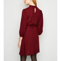 Burgundy Spot Long Sleeve Frill Neck Dress New Look