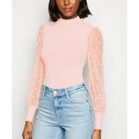 Pale Pink High Neck Spot Mesh Sleeve Top New Look