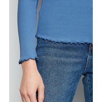 Blue Frill Ribbed Long Sleeve Top New Look
