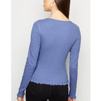 Bright Blue Frill Ribbed Long Sleeve Top New Look
