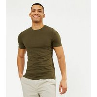 Khaki Muscle Fit Cotton T-Shirt New Look